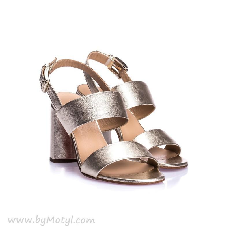 BALDININI Zlote skórzane sandały na skórzanej podeszwie