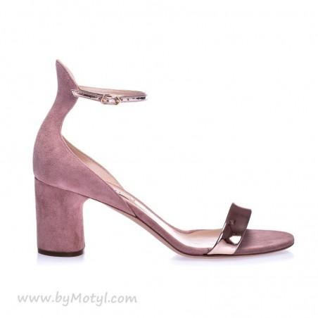 CASADEI Różowe zamszowe sandały z zapiętką