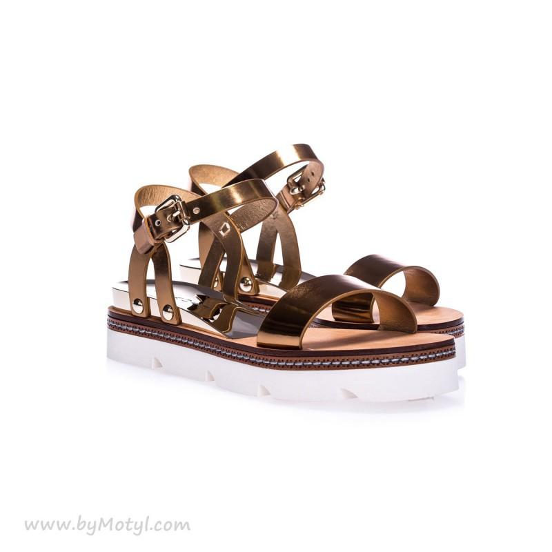 CASADEI Złote skórzane sandały damskie na białej podeszwie