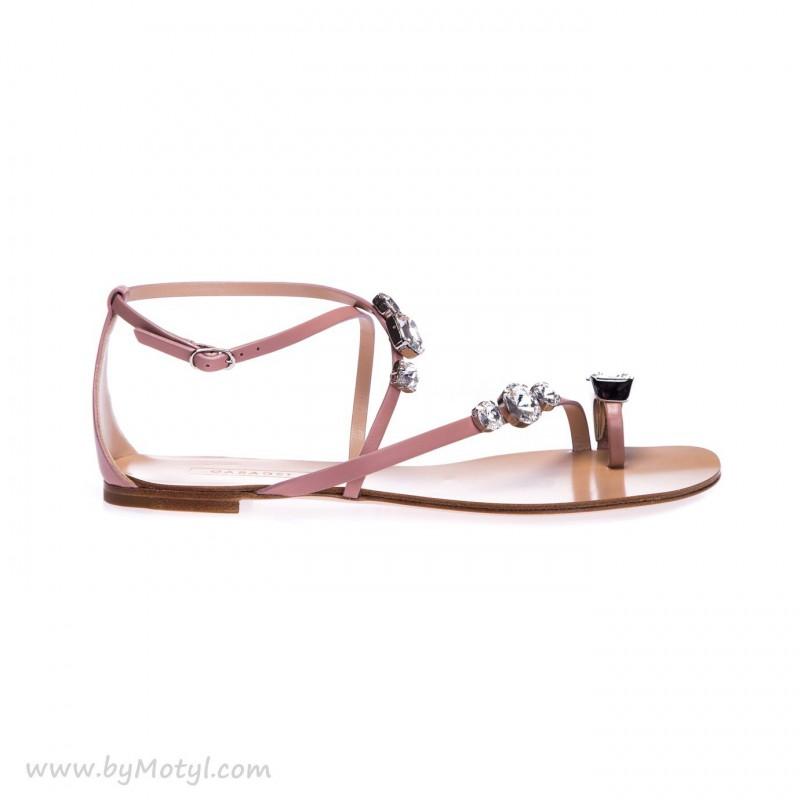 CASADEI Skórzane sandałki damskie z ozdobą