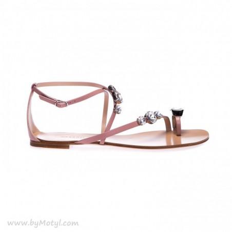 WYPRZEDANE CASADEI Skórzane sandałki damskie z ozdobą