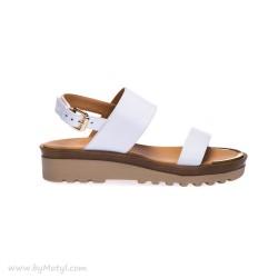 LORIBLU Białe skórzane sandały damskie na grubej podeszwie