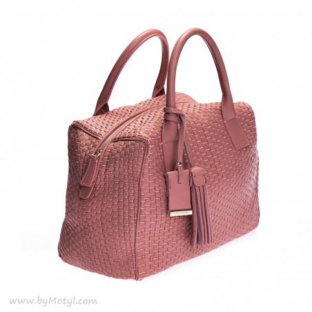 BRUNO PARISE ITALIA Pudrowo-różowa skórzana torebka damska