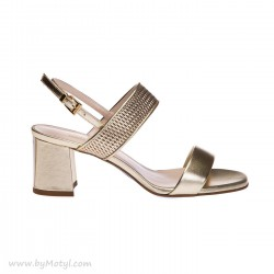 LORIBLU Złote sandałki