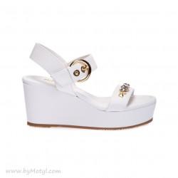 LORIBLU Białe skórzane sandały na koturnie