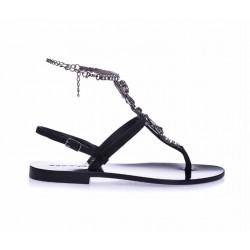 EDDICUOMO Czarne zamszowe sandały damskie z ozdobą
