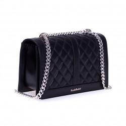 BALDININI Czarna skórzana torebka damska na srebrnym łańcuszku