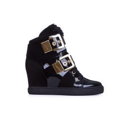 BALDININI Czarne lakierowane sneakersy z klamrami