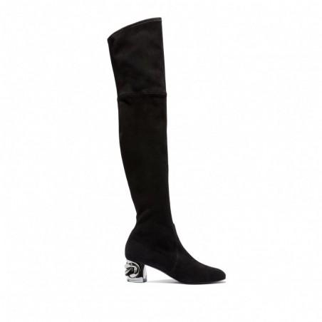 CASADEI Czarne zamszowe kozaki za kolano