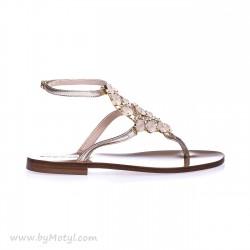 EDDICUOMO Srebrne sandały damskie z pięknymi kamykami