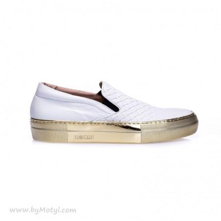 WYPRZEDANE REKER Białe sportowe buty na złotej podeszwie typu Slip On