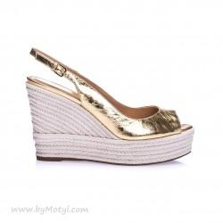 SERGIO ROSSI Złote skórzane sandały damskie na koturnie