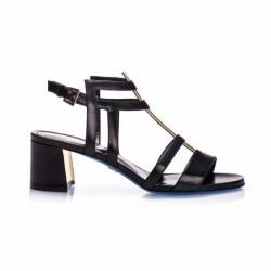 LORIBLU Czarne skórzane sandały damskie na niskim obcasie