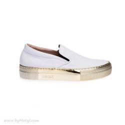 REKER Białe sportowe buty na złotej podeszwie typu Slip On
