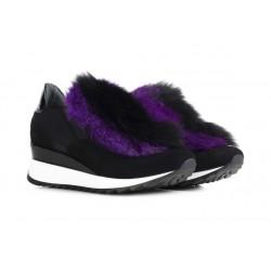 LORIBLU Czarne zamszowe buty sportowe damskie z futerkiem z przodu