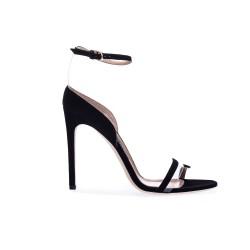 Czarne zamszowe szpilki sandały damskie SERGIO ROSSI