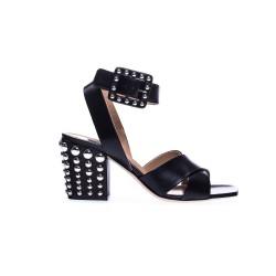 Czarne skórzane sandały damskie na grubej podeszwie ze srebrnymi dżetami SERGIO ROSSI