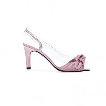 Różowe skórzane sandały damskie Azurée